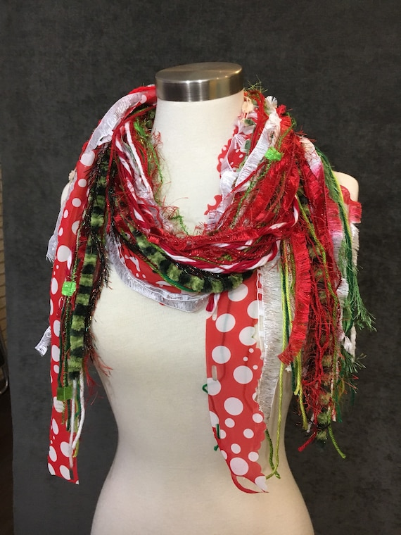 Christmas Scarf, Grinch Fringie, Christmas color red, green red and white with polka dots and lime green, fashion scarf for Christmas, dots