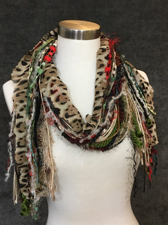 Christmas Scarf, Ba Humbug Fringie, Christmas color red, green red and white with cheetah and lime green, fashion for Christmas
