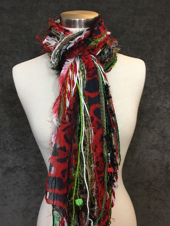 Christmas Scarf, Naughty List Fringie, Christmas color red, green red and white with polka dots and lime green, fashion scarf for Christmas