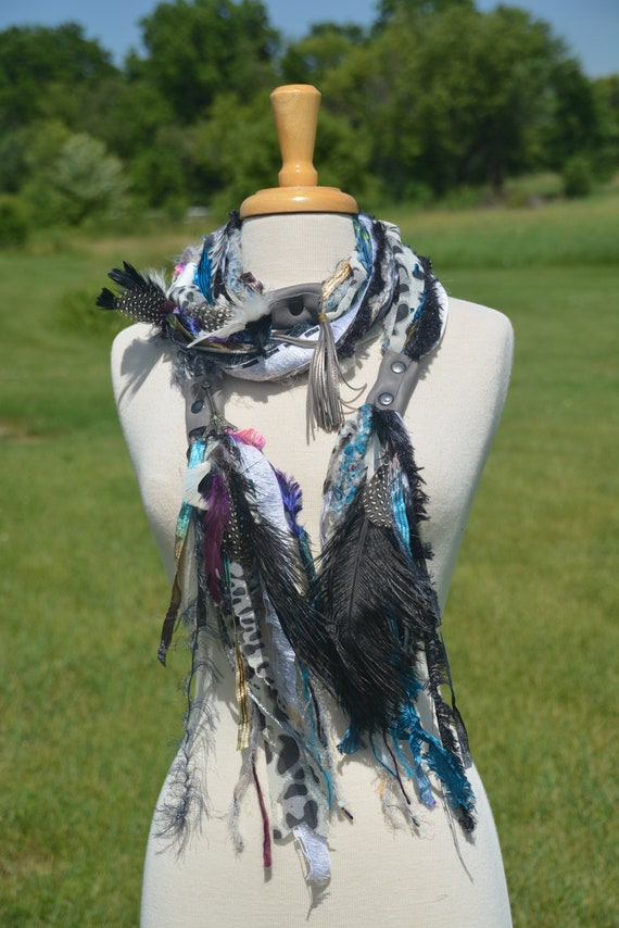 Boho Embellished Fringie with leather straps, cheetah print, rivets, ostrich and quail feathers,  Knit necklace, cosplay, artwear, fiberart