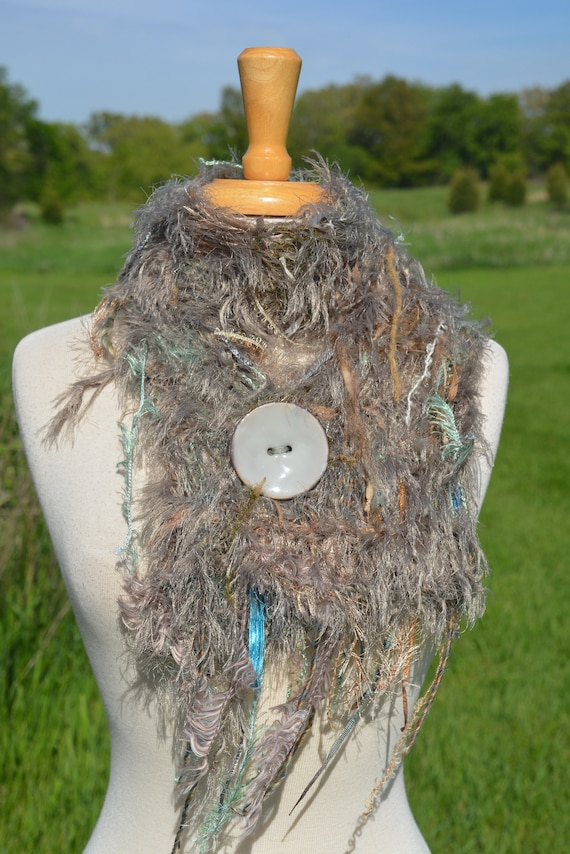 Hand Knit fur scarf with oversized button, Taupe mint, Art Scarf, Scarf with button, funky scarf, tied yarn scarf, bohemian, lightweight