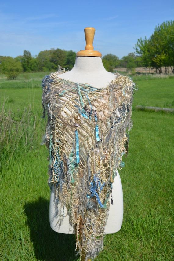 Hand knit funky poncho, chenille, Dumpster Diva 'Modern Camo', Fringed Poncho, shoulder wrap, fringe fashion, tan blue, poncho with fringe