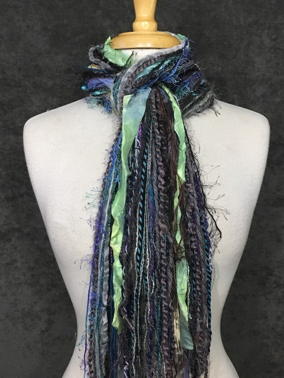 Art Yarn Fringie Scarf, Lavendar Fields, Bohemian, Tribal, all fringe scarf, gift, boho chic, neck scarf, accessory