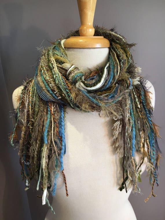 Fringie Scarf, Modern Camo, Knotted handmade Scarf, sage blue taupe fringe scarf, boho fashion, accessories, yarn scarf, boho tribal artwear