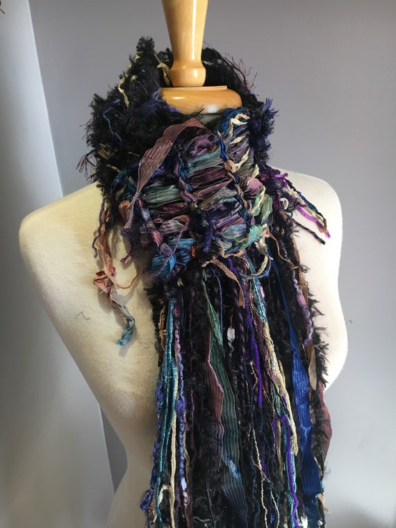 Dumpster Diva 'Cool Jewel' Blend Ribbon Scarf, Hand dyed ribbon knit jewel tone scarf with extra long fringe, bohochic, art wear scarves