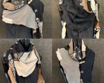 Black beige boho scarf or poncholette for women, animal print shawl, bold scarf, upcycled indie clothing, triangle scarf