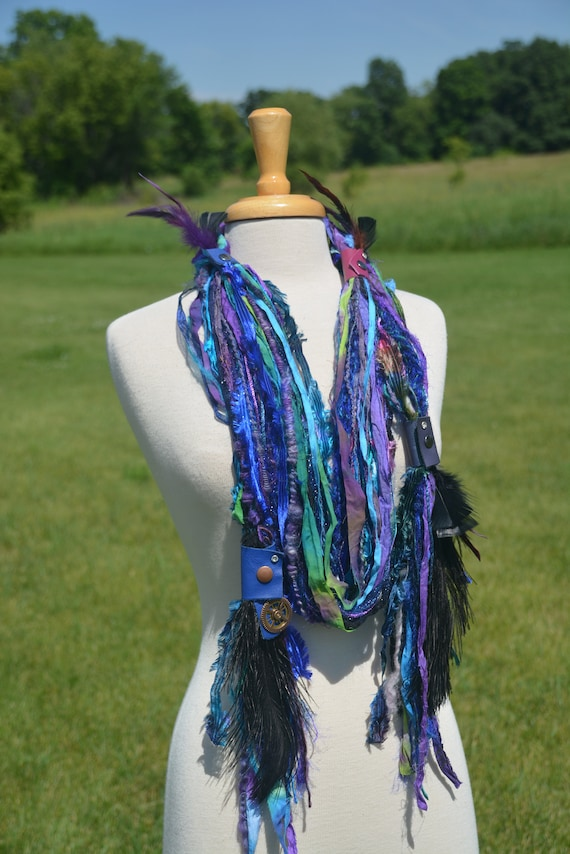 Boho Embellished Fringie with leather straps, Carribean Splash,ostrich and rooster feathers,  yarn necklace, cosplay, artwear, fiberart