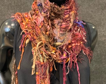 Fall color knit lightweight art scarf, Bohemian scarf, maroon salmon gold scarf, boho scarf, unique fringed Scarf, women gift, no wool scarf