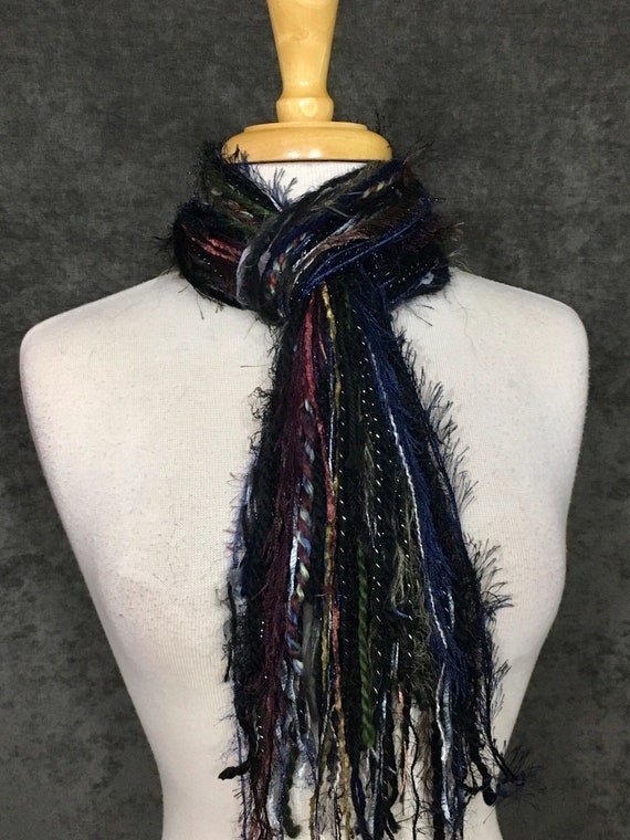 Art yarn scarf, Fringie in Armed Force, Fringe Scarf, Multitextural fringe scarf in navy olive silver black, boho chic, funky scarf, tribal
