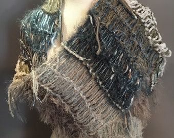 Knit wide shawl, wide long scarf, Shaggy Chic, 'Tranquility' - handmade, blanket scarf in taupe grey blue, bohemian, ooak