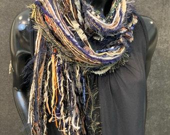 Fringie art Yarn Scarf, black blue rust luxury art yarn Scarf, Autumn scarf, fur fringe scarf, boho fashion, fiber necklace, indie scarf