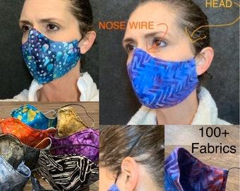 Barrier batik face mask with pocket for filter, mask Adjustable elastic, top stitched, adult mask, mask with nose wire, custom mask