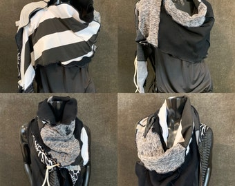 Gray boho scarf or poncho for women, black gray white poncho, bold scarf, upcycled indie clothing, triangle scarf