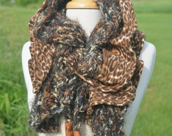 """Cinchable Scarf """"Thumblebug"""" Cheetah with leather and feather embellishments - 2 Layer Knit Fabric Cowl - Reversible Couture drawstring"""