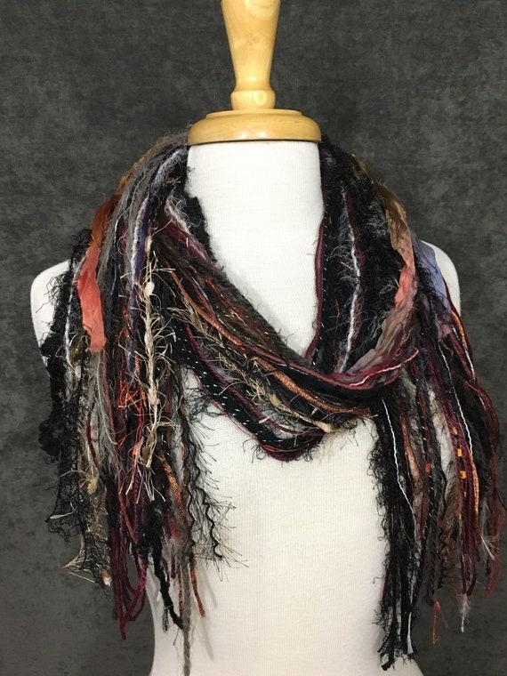 Art yarn scarf, Fringie in Shiraz, Fringe Scarf, Multitextural fringe scarf in maroon bronze black, boho chic, funky scarf, tribal