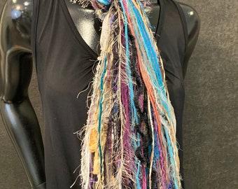 Fringie Yarn Scarf, Ribbon Fringe Scarf, Fringie in Carribean colors, boho fringe scarf in aqua yellow purple funky scarf, art fringe scarf