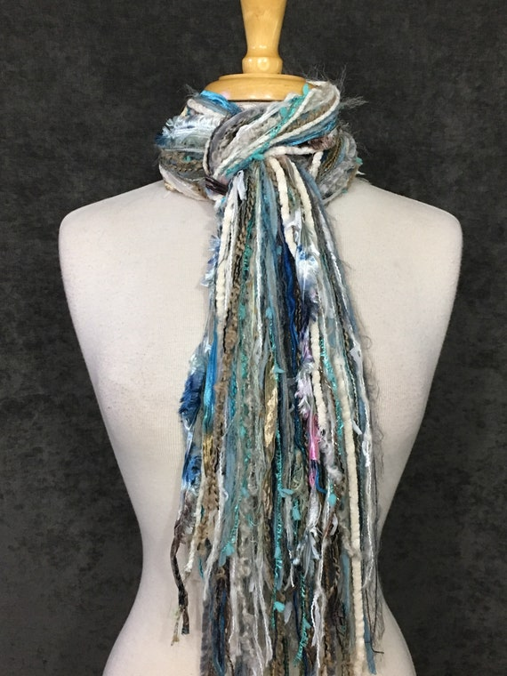 Fringie Yarn Scarf, Minty, Knotted handmade Scarf, mint aqua cream grey fringe scarf, boho fashion, accessories, yarn scarf, tribal