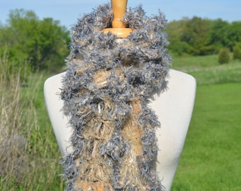 NEW Luxurious soft Hand Knit Crochet chunky soft Art Scarf, tan and grey, women accessories, chunky scarf, accessory, gift, fashion, fur