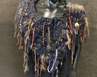 Luxury knit boho funky fringe cowl with key charm, Indie clothing, funky fashion, bohemian handmade cowl, blue rust cowl