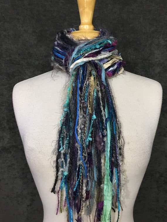 Fringie Yarn Scarf, Breezy, Knotted handmade Scarf, mint aqua cream lavendar fringe scarf, boho fashion, accessories, short scarf, tribal