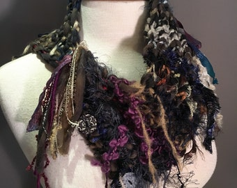 Handmade Knit Hand dyed mohair and hand tied yarns Cowl or Choker with buttons, Dumpster Diva, blue brown artwear, fashion, funky scarves