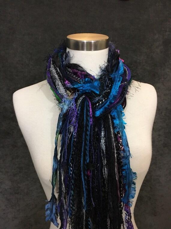 Fringie in Cool Jewel, Fringe Scarf, Handmade hand-tied art yarn scarf in blue black purple, bohemian, gifts, short scarf, ribbon