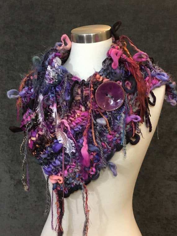 Handmade Knit Hand dyed mohair silk and hand tied yarns Cowl with button, Dumpster Diva, bright color artwear, fashion, accessories, knit