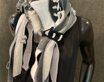 Couture upcycled gray scarf, fabric and charms, boho style, upcycled indie clothing, sweater refashion