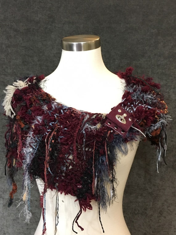 Hand knit Boho Cowl with suede leather and buckle embellishment, 'Fetish' Series, Knit Collar, Winter Wine, neck warmer, fashion, cosplay