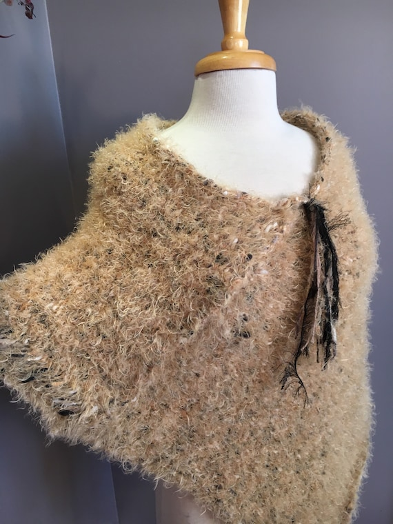 Woven Knit XL Fluffy draping fur-like Poncho, reversible, Knit Shoulder wrap, tan beige poncho, accessories, knit sweater, knitwear