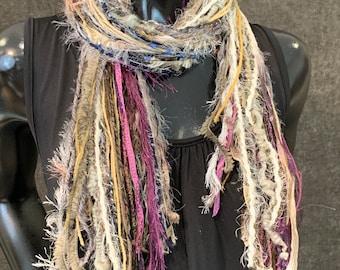 Fringie art Yarn Scarf, Knotted handmade art Scarf in purple cream shades, indie scarf, boho accessories, short scarf, ribbon scarf