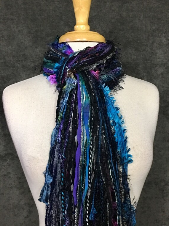 Fringie in Cool Jewel, Fringe Scarf, Handmade hand-tied art yarn scarf in blue black purple, bohemian, gifts, short scarf, ribbon