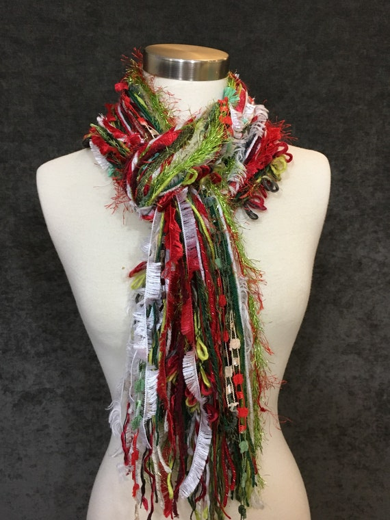 Christmas Color Scarf, Christmas Fringie, Christmas colors, red, green, lime, white with glitzy yarns, fashion scarf, gift, ugly sweater