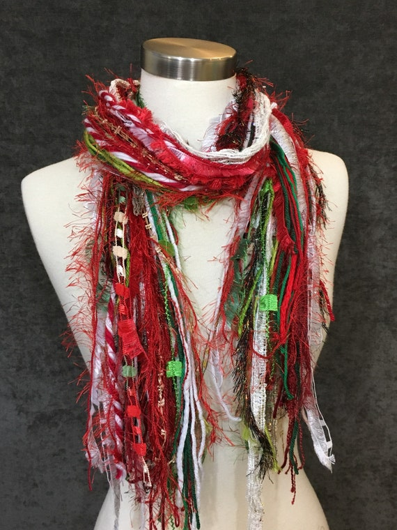 Christmas Color Scarf, Tinsel Fringie, Christmas colors, red, green, white  with glitzy yarns, fashion scarf, gift, ugly sweater