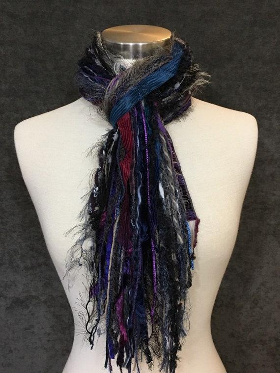 Art scarf, Medium Fringie in Midnight Oil, Fringe Scarf, Multitextural fringe scarf in purple taupe navy black, boho chic, funky scarf