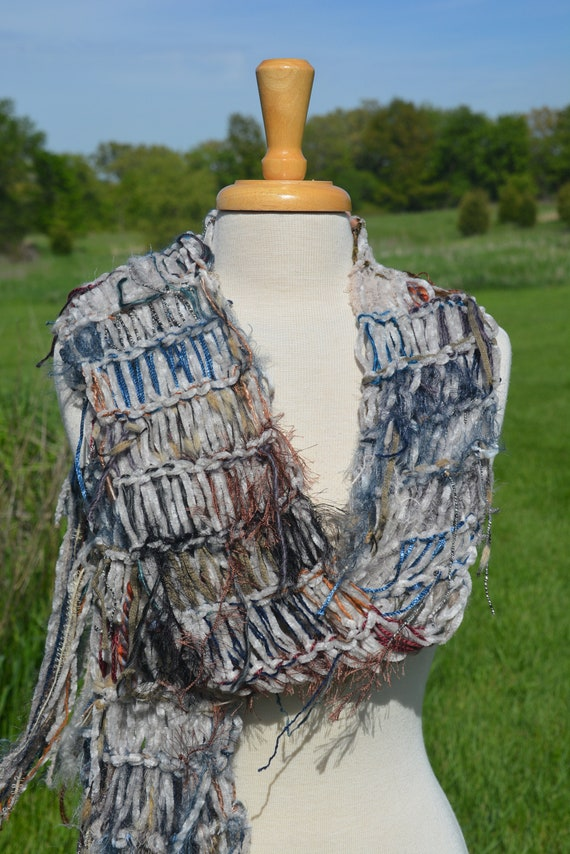 Knit Art Scarf, Fringed Scarf in blue grey hues, 'Heritage', accessory, wraps, fashion, couture, tribal, long scarf, women gift, artwear