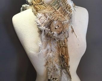 Glitzy artwear triangle scarf with button, Tribal Romance,  Cream and Sugar, Versatile Scarf,  crram gold, boho chic, art