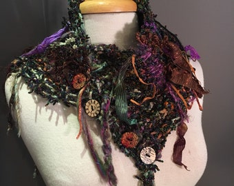 Handmade Knit shaggy chenille and hand tied yarns Cowl or Choker with buttons, Dumpster Diva, eggplant brown artwear, fashion, funky scarves