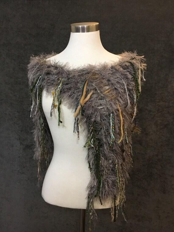 Hand knit funky taupe olive poncho, Fringed Poncho, shoulder wrap, fur fashion, tribal, bohemian, boho faux fur wrap