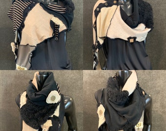 Black beige boho scarf or poncholette for women, black gold stripe shawl, bold scarf, upcycled indie clothing, triangle scarf