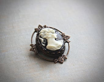 Petite Black and Ivory Cameo Brooch and Pendant