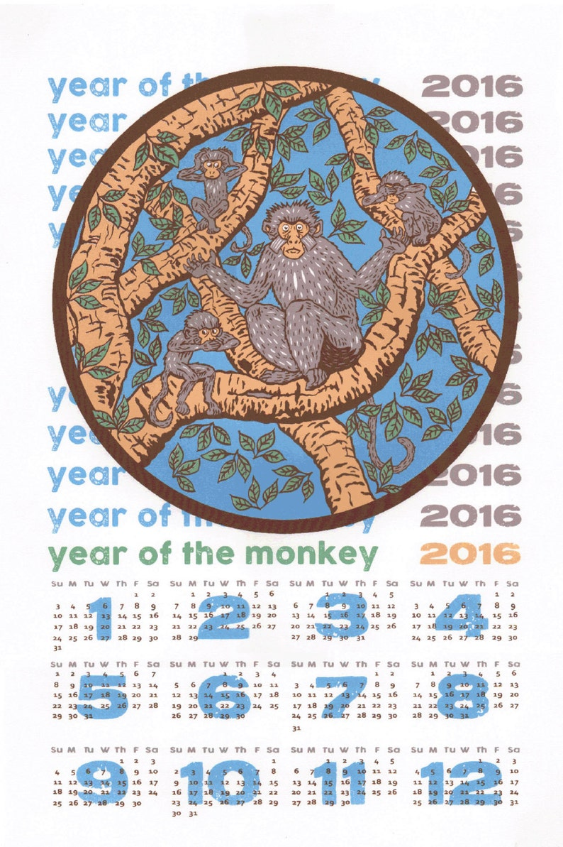 5 color screenprinted 2016 Year of the Monkey Wall Calendar. image 0