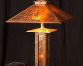 Built-to-Order, Mission Style Table Lamp Arts and Crafts , Oak Wood, Mica Sheets, Handmade, Prairie Style Shade
