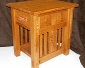 Built-to-Order, Mission Style End Table Arts and Crafts, Carved Oak Leaf Side Panels Walnut Dovetail