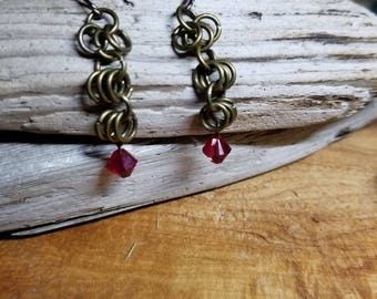 Bronze chainmail earrings with red accent beads