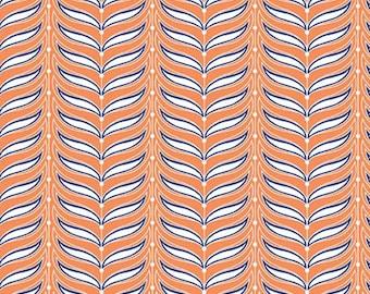 CLEARANCE Riley Blake - Lula Magnolia Fern in Orange - Half Yard Cotton Fabric