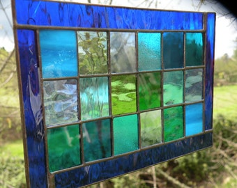 Stained Glass window stained glass panel blue green teal glass suncatcher