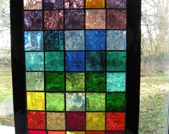 Colorful Stained Glass Panel with  rainbow of colors black boarder rectangular panel rainbow glass
