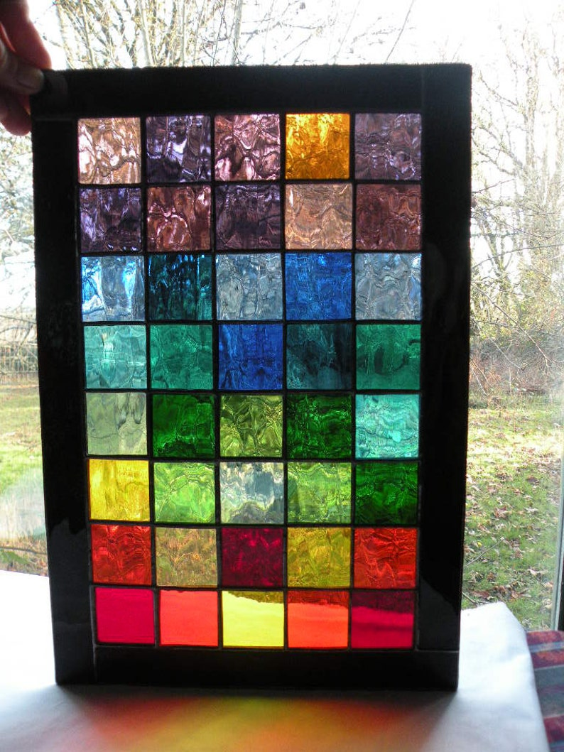 Colorful Stained Glass Panel with  rainbow of colors black image 0