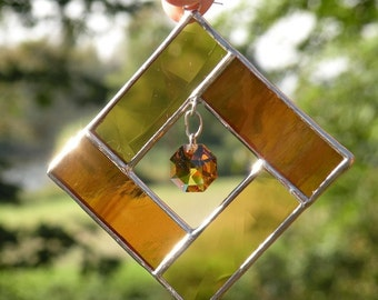 Stained Glass suncatcher with crystal amber topaz